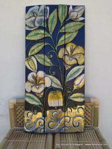 Tableau peinture sur bois fleurs de nuit