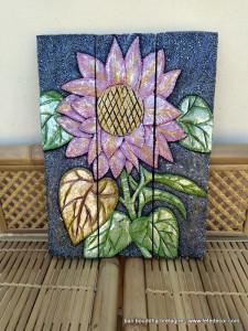 Tableau peinture sur bois 3 volets fleur rose