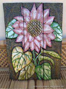 Tableau peinture sur bois fleur rose doré