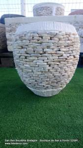 Pot béton H30 cm pierre blanche