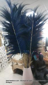Plume en abaca bleu
