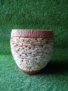 Pot de fleurs orangé 30 cm