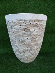 Pot fleurs rond béton avec onyx H54 cm
