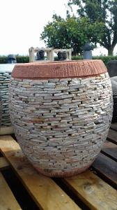 Pot rond pour plante couverture pierre H45cm