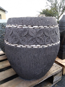 Pot gris en ciment pour plante H45cm
