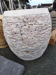 Pot bac jardinière pierre blanche H45cm