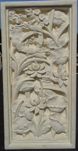 sculpture cadre pierre oiseaux relief
