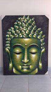 Tableau de Bouddha dentelle vert et noir