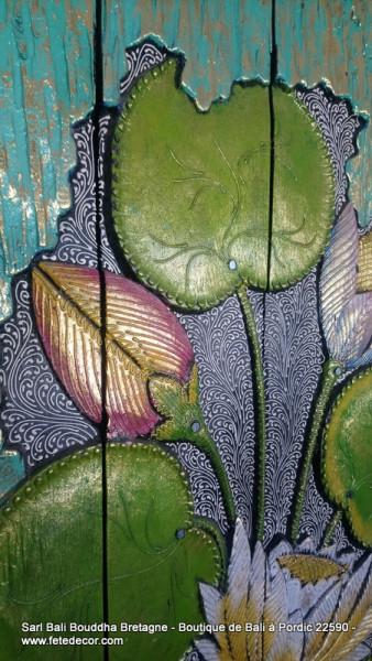 Tableaux bois fleurs lotus H100cm