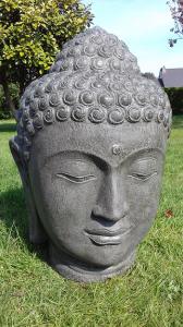 Tête Bouddha géante vert kaki H100 cm