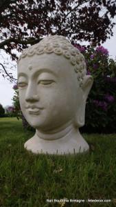 Tête de bouddha blanche 80cm