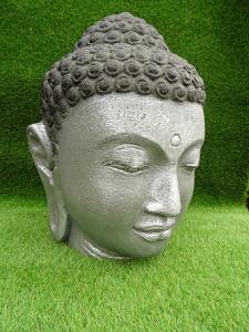 Tête bouddha argenté 50 cm