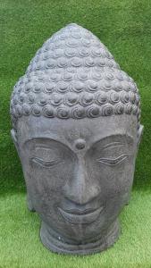 Tête Bouddha grise 80 cm