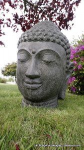 Tête Bouddha vert kaki