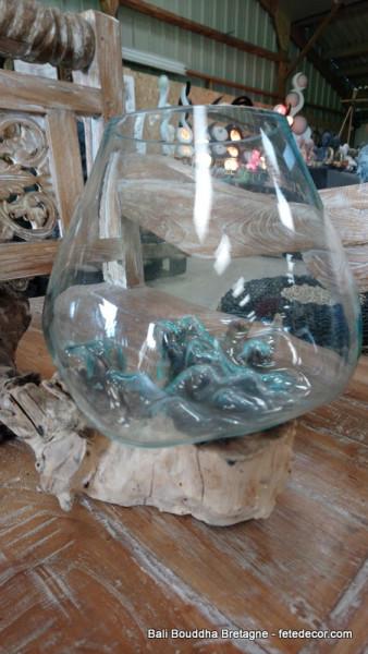 vase ballon verre socle bois