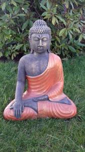 Statuette ciment Bouddha orange