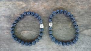 Bracelet pierre lave et Bouddha