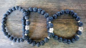 Bracelet pierre de lave - Bouddha argenté