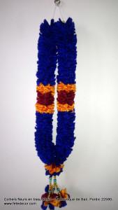 collier fleurs bleu artificiel offrande L50cm