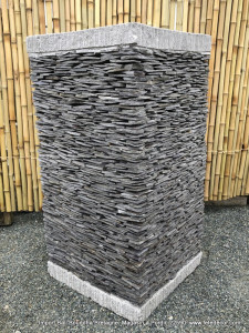 Grand pot béton couverture ardoise H80 cm