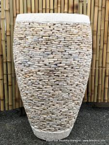Grand pot rond béton couverture onyx