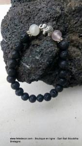 Bracelet pierre lave 6mn et howlite