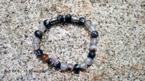 Bracelet pierre grise, noire avec motifs argenté