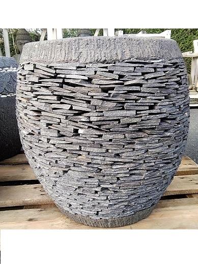 Pot rond en pierre ardoise pour plante